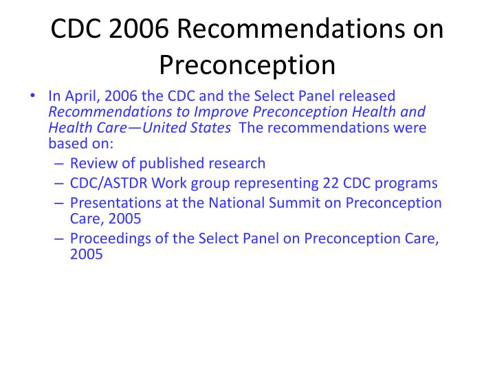 CDC 2006 Recommendations on Preconception