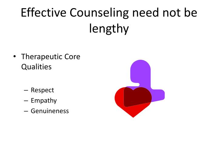 Effective Counseling need not be lengthy