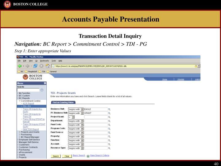 Transaction Detail Inquiry