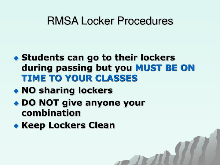 RMSA Locker Procedures