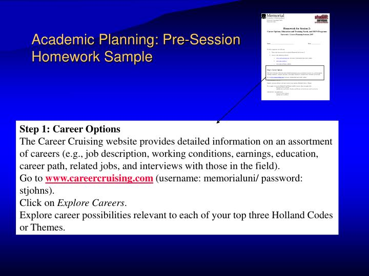 Academic Planning: Pre-Session Homework Sample