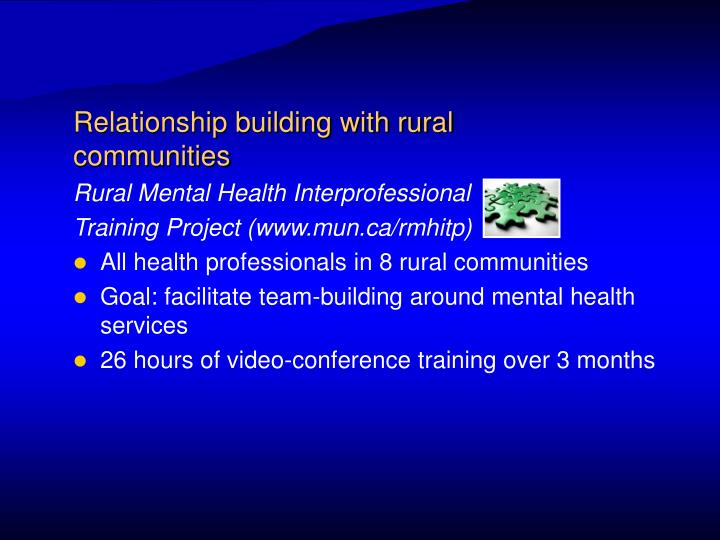 Relationship building with rural communities