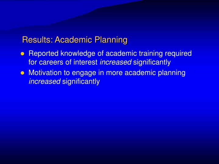 Results: Academic Planning