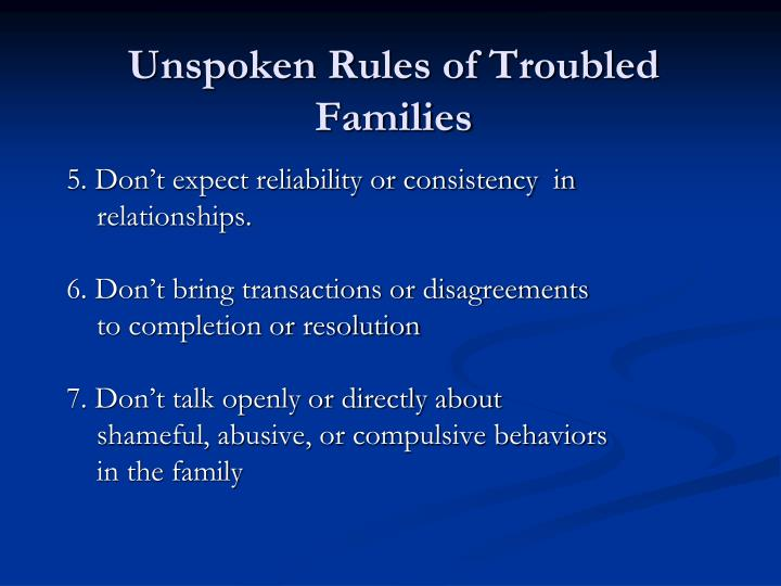 Unspoken Rules of Troubled Families