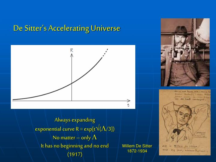 De Sitter's Accelerating Universe