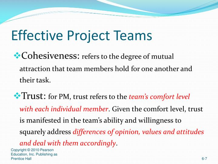 effective project teams Characteristics of an effective project team member the new information age requires that our students learn to work effectively in teams and.