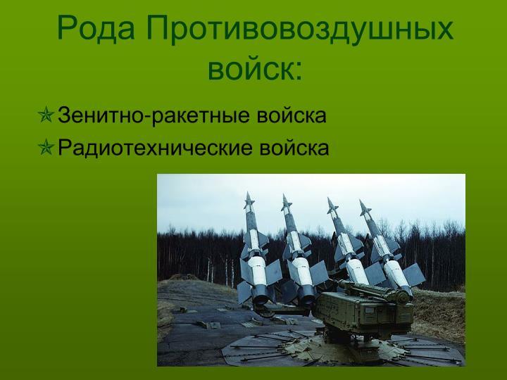 Рода Противовоздушных войск: