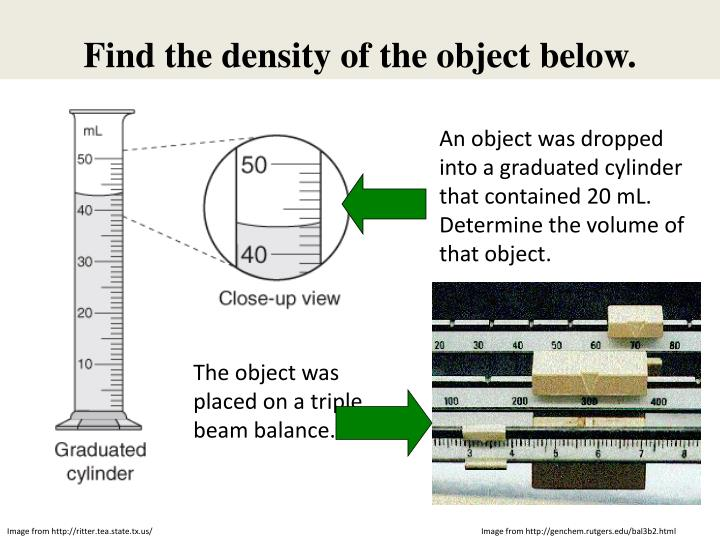 Find the density of the object below.