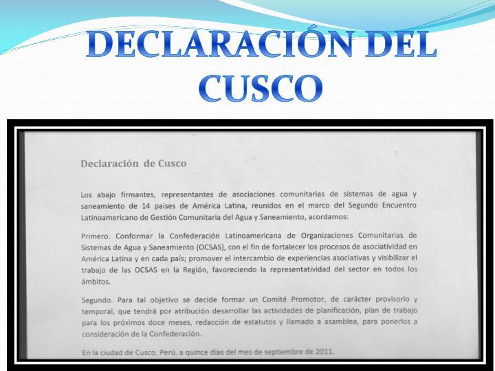 DECLARACIÓN DEL CUSCO