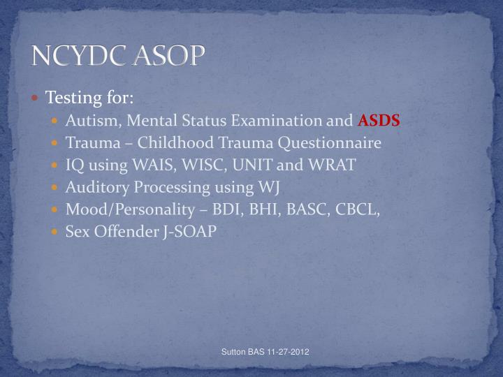 NCYDC ASOP