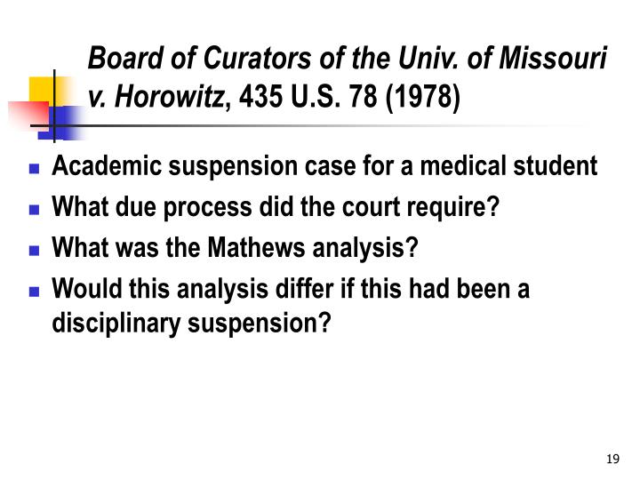 Board of Curators of the Univ. of Missouri v. Horowitz