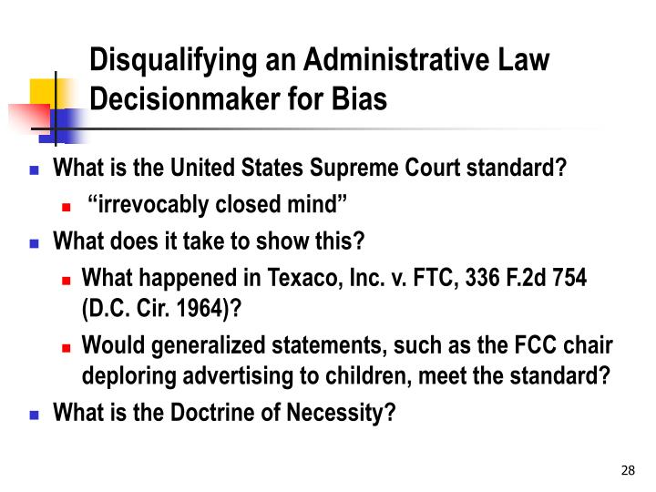 Disqualifying an Administrative Law Decisionmaker for Bias