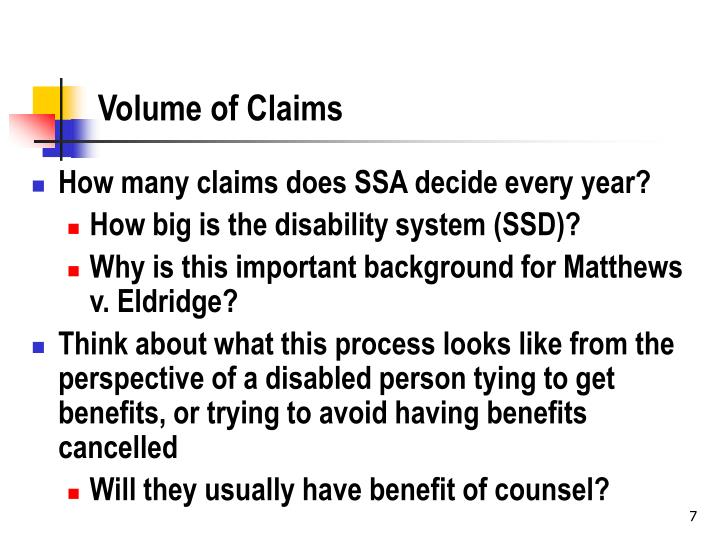 Volume of Claims