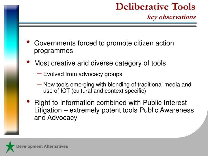 Deliberative Tools