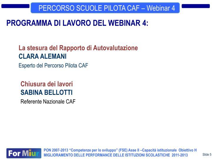 PERCORSO SCUOLE PILOTA CAF – Webinar 4