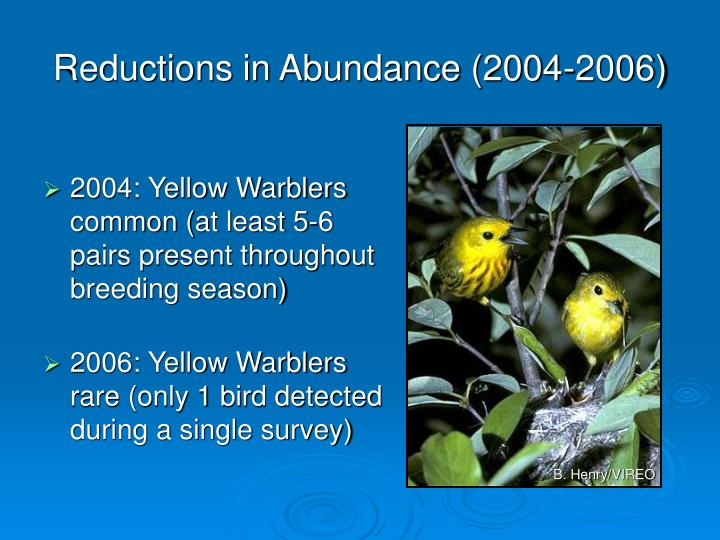 Reductions in Abundance (2004-2006)