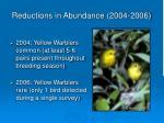 reductions in abundance 2004 2006