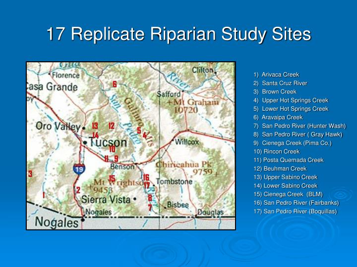 17 Replicate Riparian Study Sites