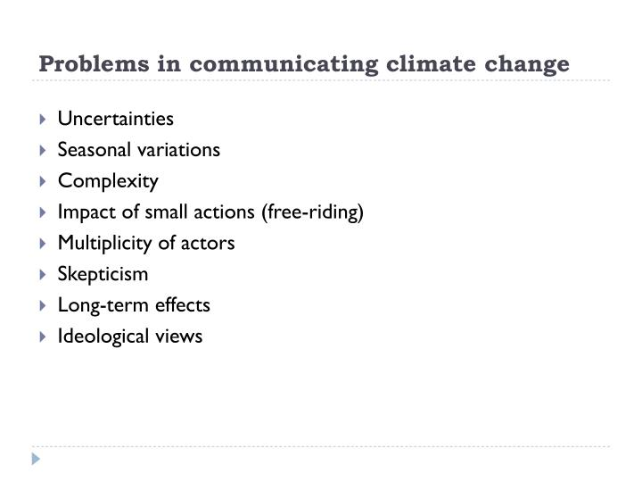 Problems in communicating climate change