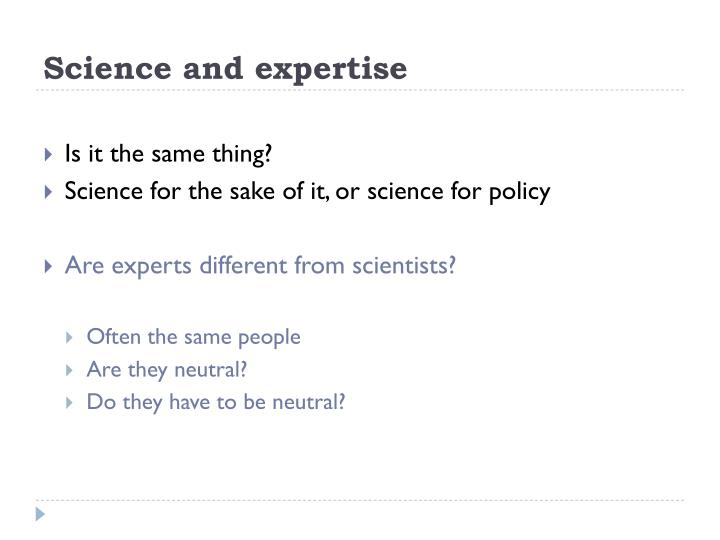 Science and expertise