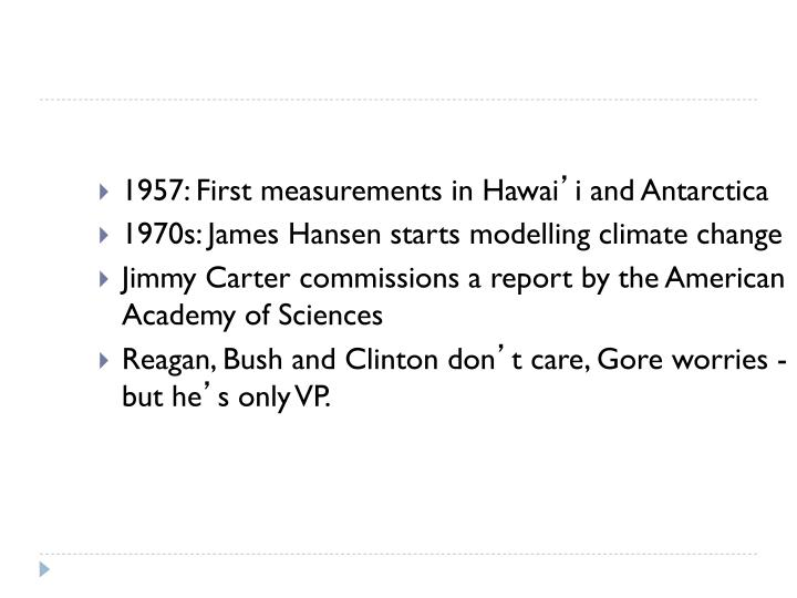 1957: First measurements in Hawai