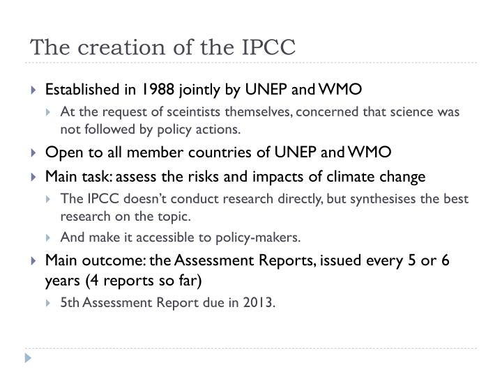 The creation of the IPCC