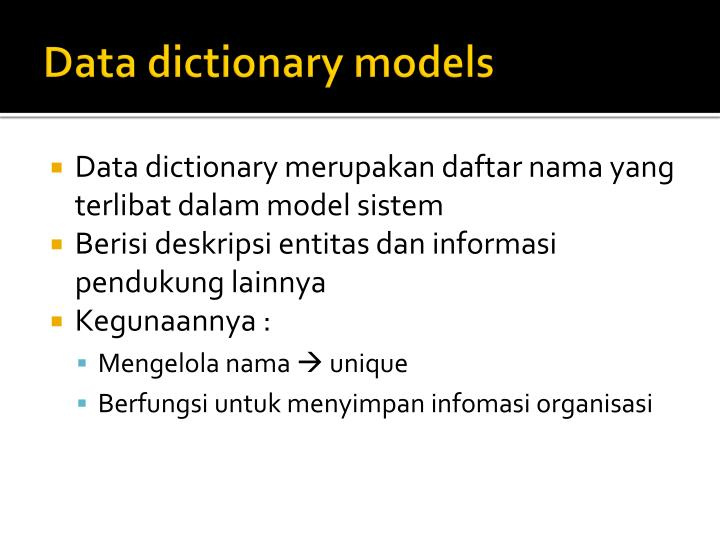 Data dictionary models