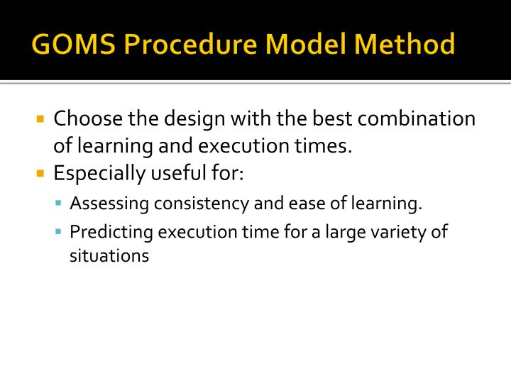 GOMS Procedure Model Method