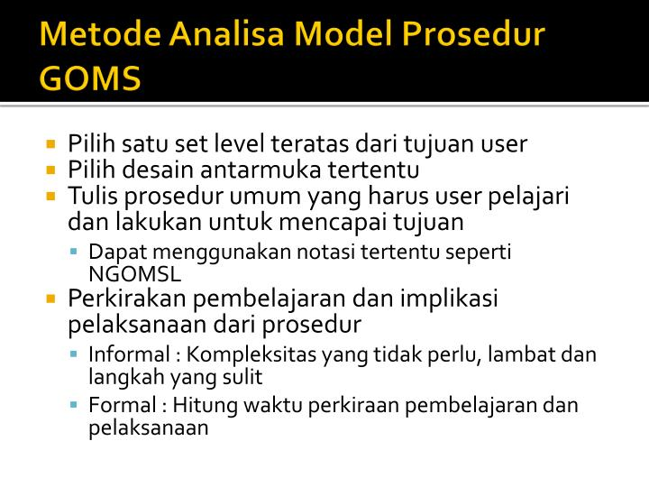 Metode Analisa Model Prosedur GOMS