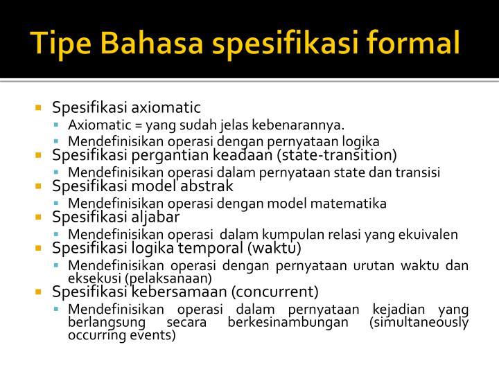 Tipe Bahasa spesifikasi formal