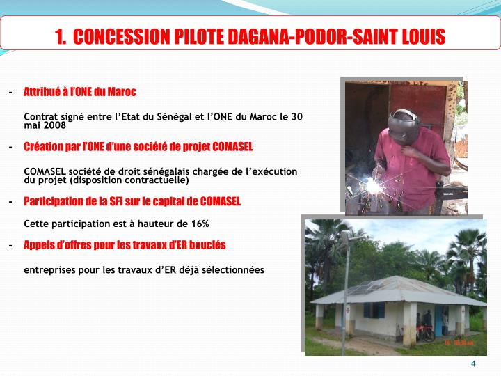 1.  CONCESSION PILOTE DAGANA-PODOR-SAINT LOUIS