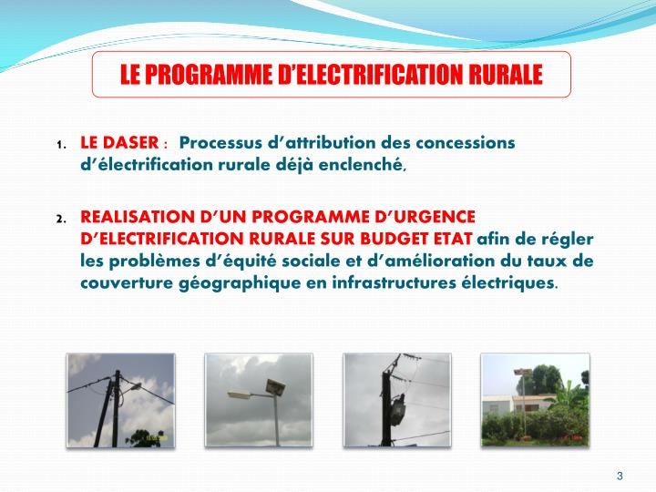 LE PROGRAMME D'ELECTRIFICATION RURALE