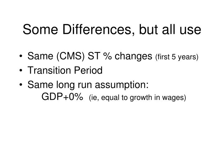 Some Differences, but all use