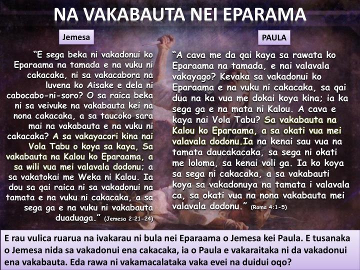NA VAKABAUTA NEI EPARAMA