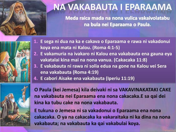 NA VAKABAUTA I EPARAAMA