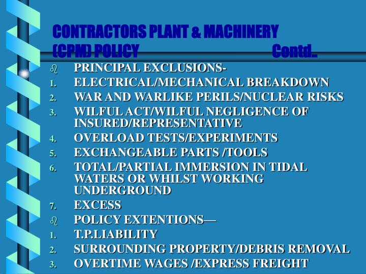 CONTRACTORS PLANT & MACHINERY