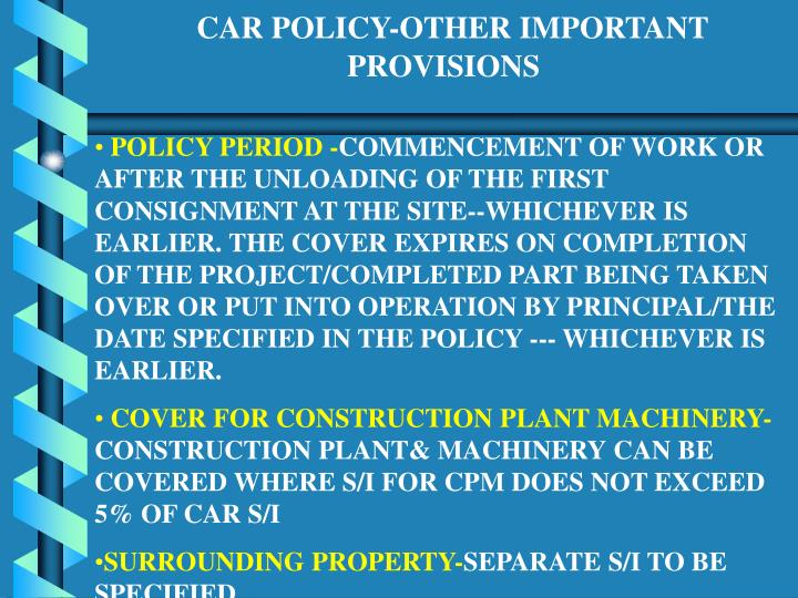 CAR POLICY-OTHER IMPORTANT 					PROVISIONS