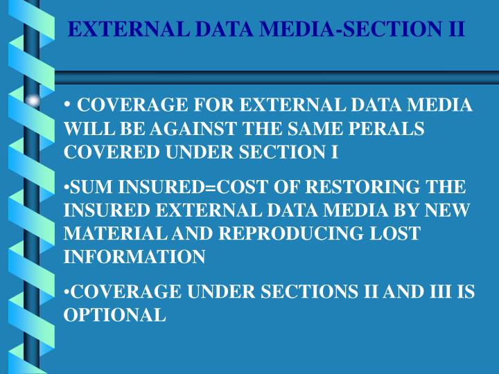 EXTERNAL DATA MEDIA-SECTION II