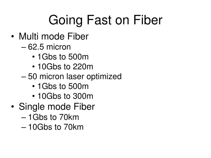 Going Fast on Fiber