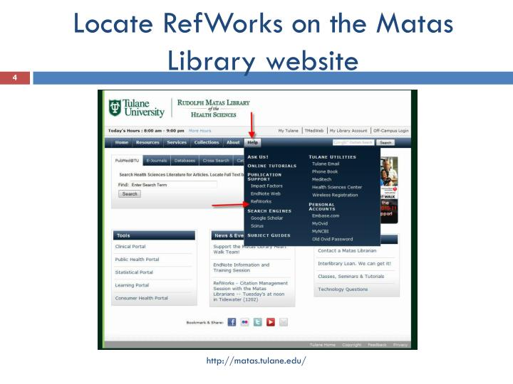 Locate RefWorks on the Matas Library website