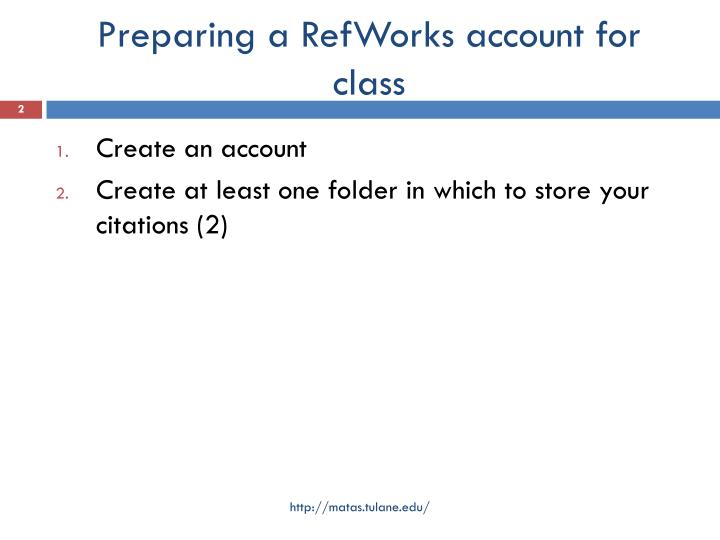 Preparing a RefWorks account for class