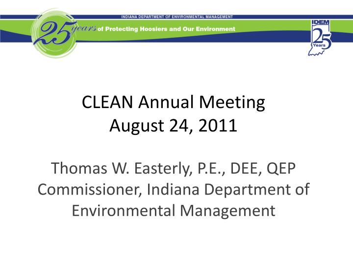 Clean annual meeting august 24 2011