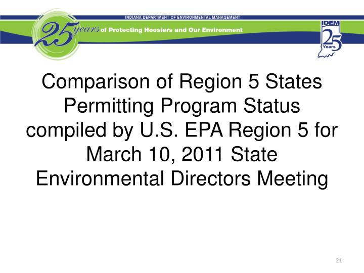 Comparison of Region 5 States Permitting Program Status compiled by U.S. EPA Region 5 for March 10, 2011 State Environmental Directors Meeting