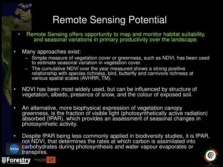 Remote Sensing Potential