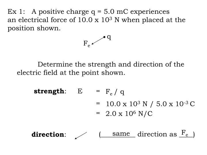 Ex 1:   A positive charge q = 5.0 mC experiences