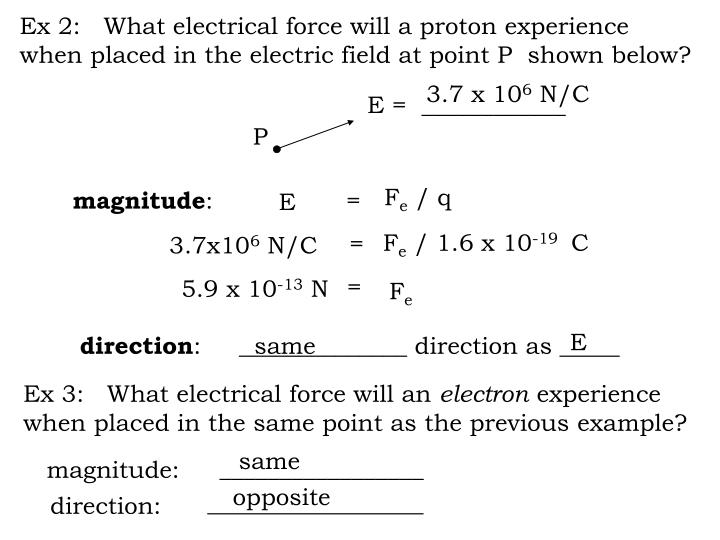 Ex 2:   What electrical force will a proton experience