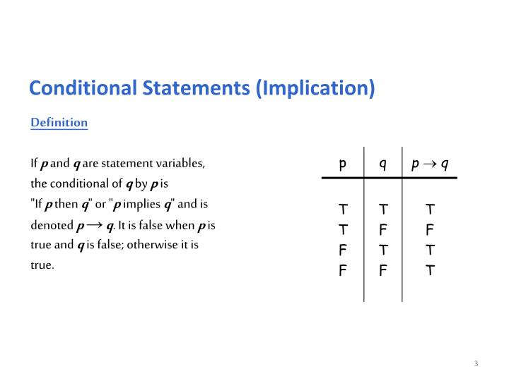 Conditional Statements (Implication)