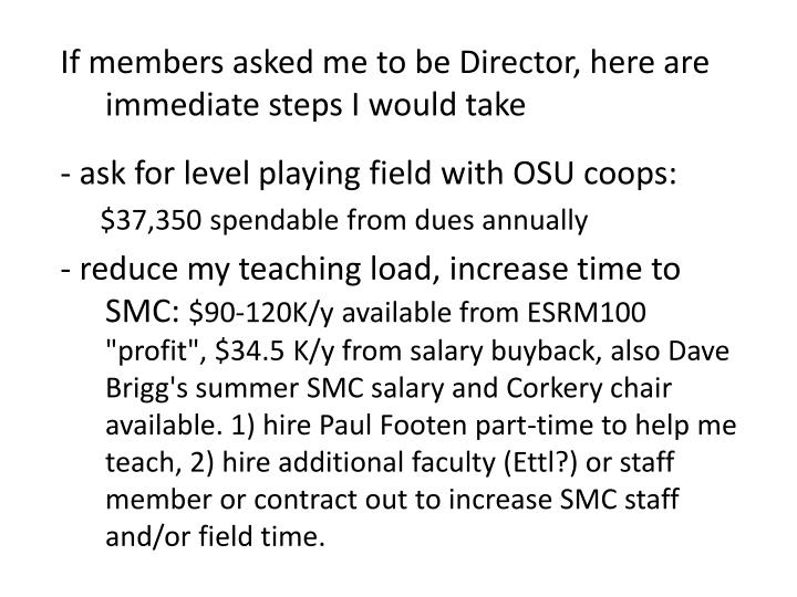 If members asked me to be Director, here are immediate steps I would take