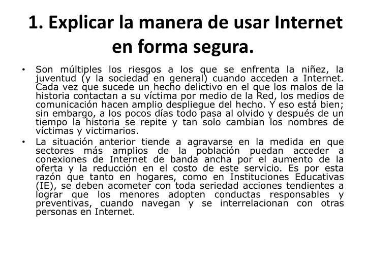 1. Explicar la manera de usar Internet en forma segura.