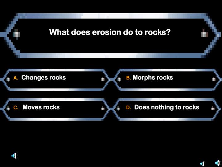 What does erosion do to rocks?